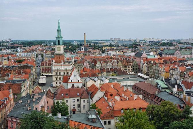 panorama z wieży zamku przemysła Poznań