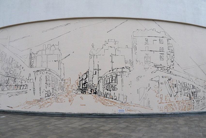 Mural na wczesnym etapie powstawania