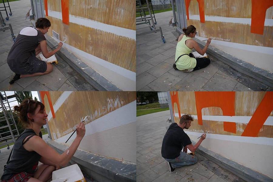 Podpisywanie muralu Chwaliszewo Poznań